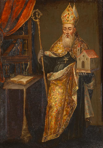 Spanish Colonial School (19th century) A bishop in his study holding a model of a church 13 3/4 x 9