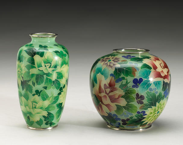 Two plique-a-jour vases, Meiji period or later