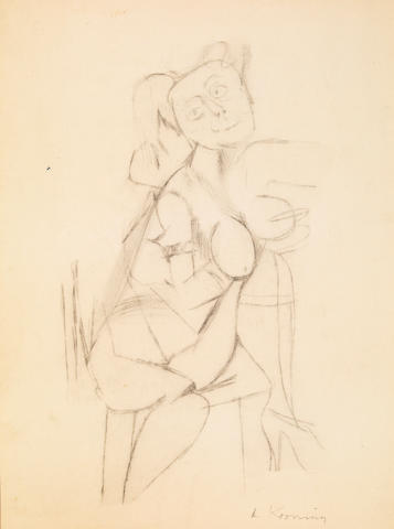 Willem de Kooning (American 1904-1997) Untitled, c. 1944 14 x 11in (35.6 x 28cm)