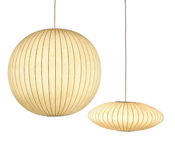 Two George Nelson hanging bubble lamps