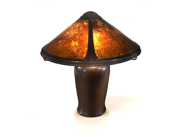 A Dirk Van Erp hammered copper and mica  table lamp