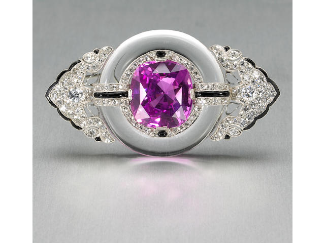 An art deco natural pink sapphire, diamond, rock crystal, black onyx and platinum brooch