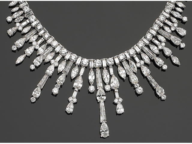 A platinum and diamond necklace