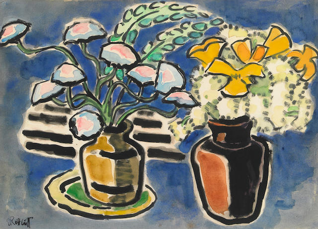 Karl Schmidt-Rottluff Still Life with Two Vases 19 x 26in