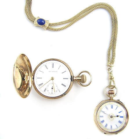 A collection of two 14 karat yellow gold pocket/lapel watches