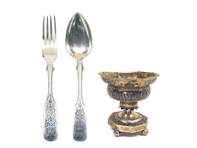 Russian Silver and Niello Assembled and Matching Flatware Set