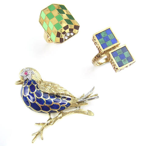 A collection of diamond, stone, enamel and gold jewelry