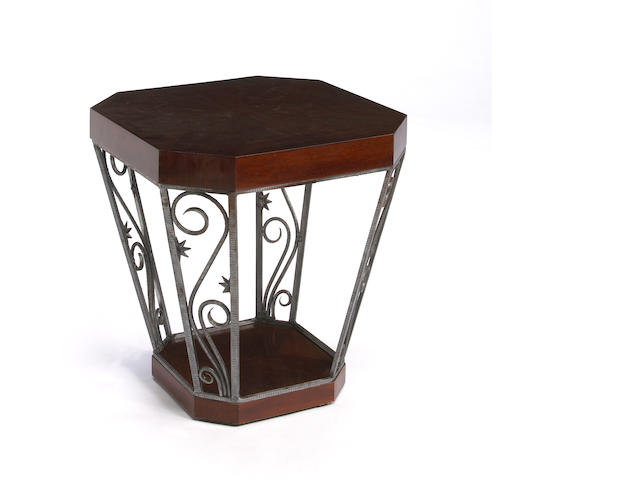 A French Art Deco mahogany and wrought iron occasional table