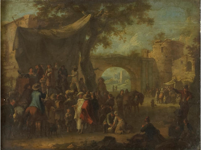Franz de Paula Ferg (Austrian 1689-1740) Numerous figures gathered at a commedia dell'arte with ruined buildings beyond 8 1/2 x 11in (21.6 x 27.9cm)