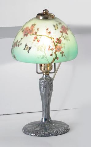 A Handel interior painted glass boudoir lamp