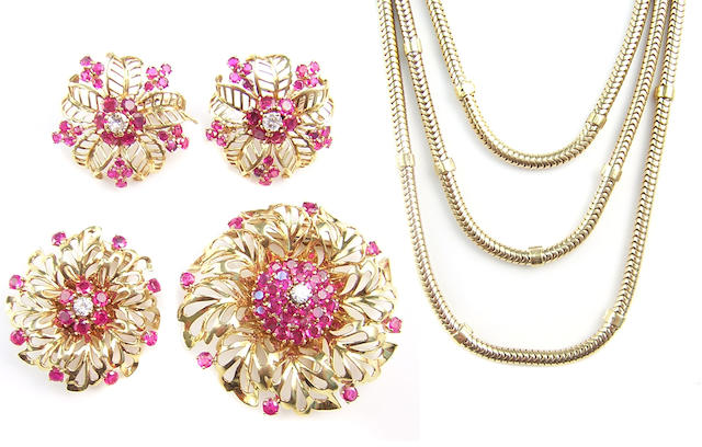 A suite of ruby, diamond, and yellow gold jewelry
