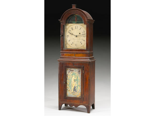 An important Federal mahogany and flame birch inlaid eglomisé shelf clock