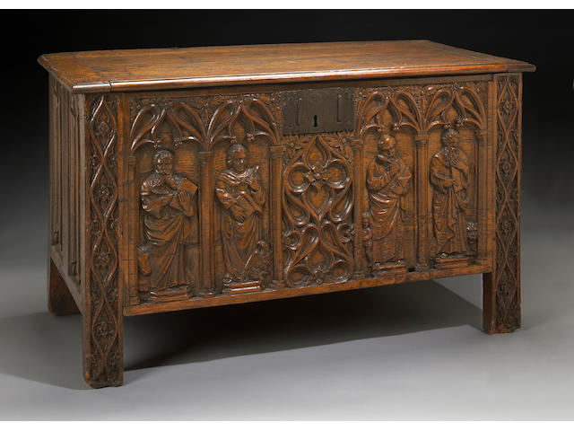 A Charles II carved oak coffer