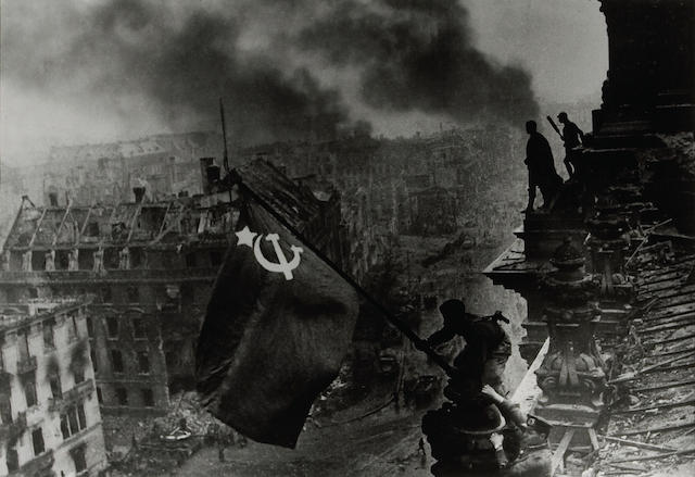 Yevgeni Khaldei; Raising of the Red Flag over the Reichstag, Berlin;