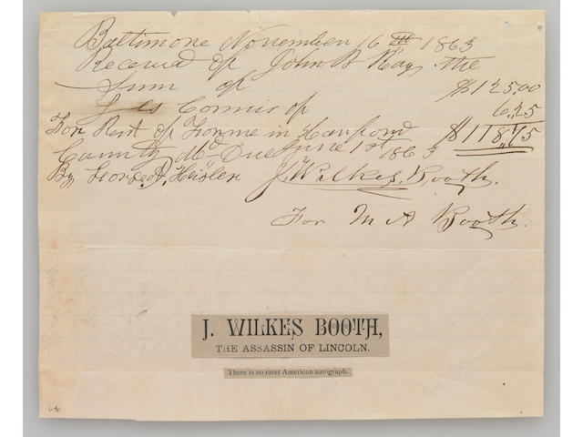 BOOTH, JOHN WILKES.  1838-1865.