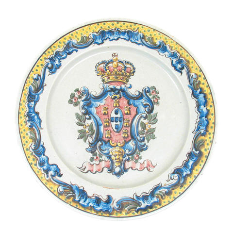 An Italian maiolica style charger