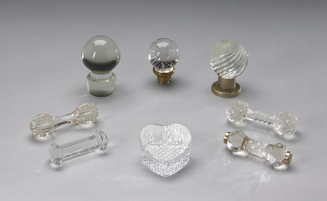 A miscellaneous group of eight glass table articles