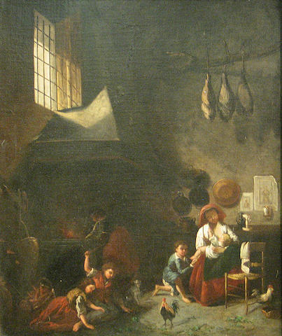 Dutch School, 19th Century A mother and her children in an interior 30 x 25in
