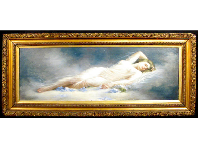 C. Sampietro (Italian 19th century) A recumbent girl in a sheer cloth 14 x 37 1/2in