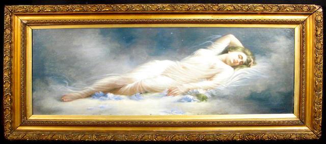 C. Sampietro (Italian 19th century) A recumbent girl in a sheer cloth 14 x 37 1/2in