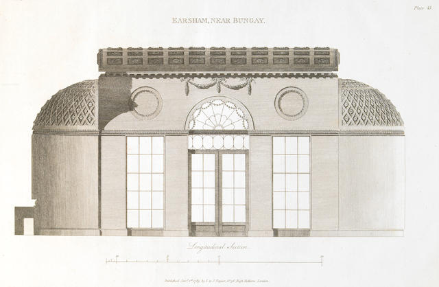 Soane, John. Plans, Elevations & Sections of Buildings Executed in ... Norfolk, Suffolk ... L: 1788, Folio. w/47 plates.