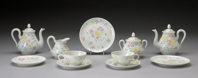 A Limoges porcelain breakfast service retailed by Porthault