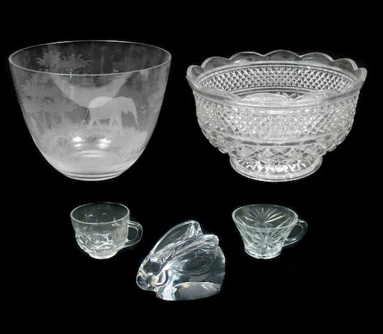 An etched and frosted glass bowl together with others
