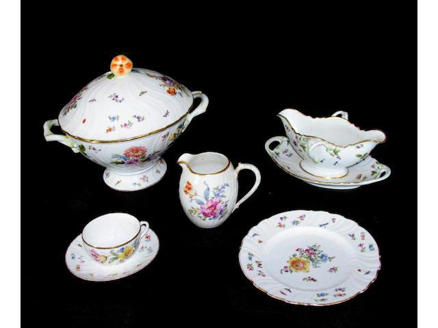 An assembled Bohemian porcelain dinner service