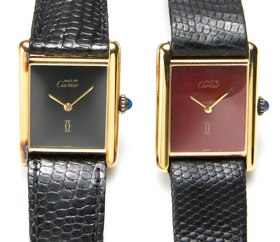 Must de Cartier. Two gold plated silver wristwatchesTank, circa 1979 2
