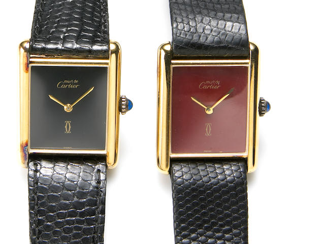 Must de Cartier. Two gold plated silver wristwatches Tank, circa 1979 2
