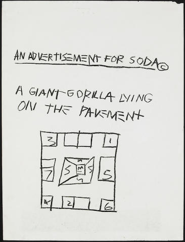 Jean-Michel Basquiat (American, 1960-1988) An Advertisement for Soda, 1981 23 3/4 x 17 3/4in (60.3 x 45cm)