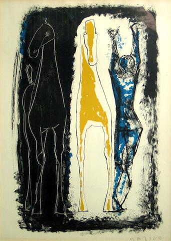 Marino Marini (Italian, 1901-1980); Jongleur et Deux Chevaux, Bleu, Jaune et Noir;