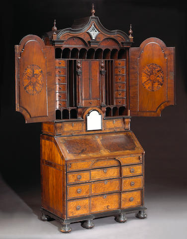 A fine Dutch Baroque inlaid walnut secretary