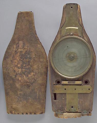 A cased surveyor's brass vernier compass