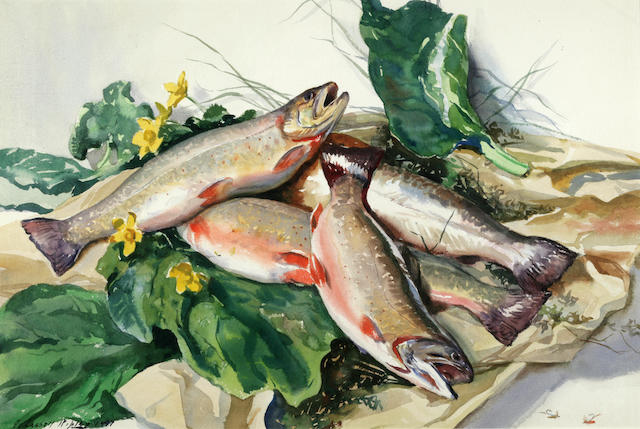 Aiden Lassell Ripley (1896-1969) Trout from Laurel Brook 15 x 22in