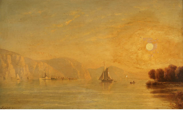 Manner of Sanford Robinson Gifford (1823-1880) Morning Highlands of the Hudson sight 12 x 20in