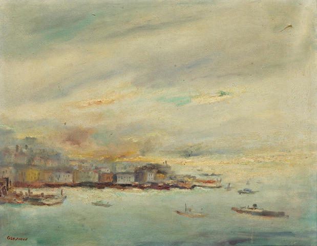 George Chann  (Chinese/American 1913-1995) Hong Kong Harbor, ca.1960-1969  16 x 20in (40.6 x 50.8cm)