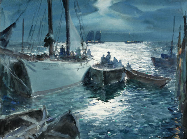 John Whorf (1903-1959) Path of the Moon a Sailing Party aboard the Island Girl, Provincetown Harbor 22 1/4 x 30in