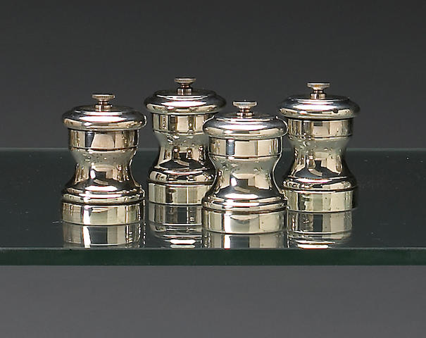 Four Fisher silver pepper mills