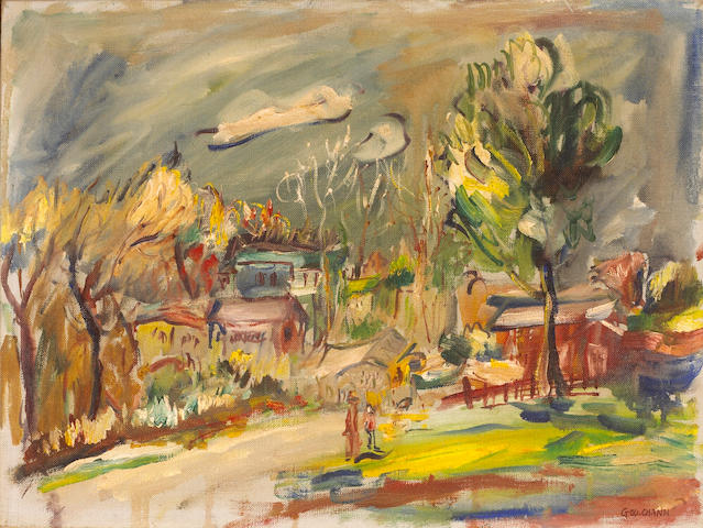 George Chann (Chinese/American 1913-1995 Townscape, ca.1960-1969  12 x 16in (30.4 x 40.6cm)