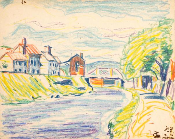 Oscar Florianus Bluemner (German/American 1867-1938) Untitled (Riverscape), c.1916 7 1/8 x 5 5/8in (