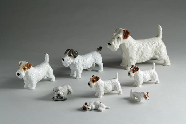 Group of 8 Porcelain Sealyham Terriers