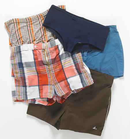A group of 1960s and 1970s-era swim trunks