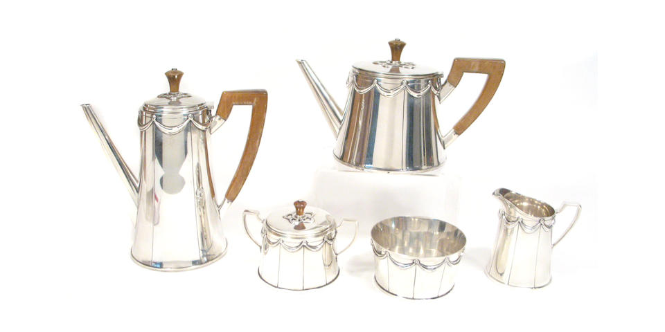 Sterling Five Piece Tea and Coffee Set with Wooden Fittings by Tiffany & Co.