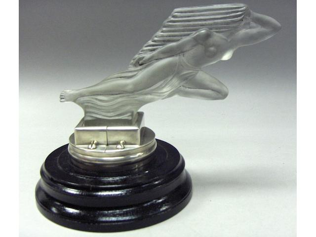 A rare 'Acceleration' glass mascot by 'Red Ashay', H.G.Ascher Ltd., circa 1929, 8in long