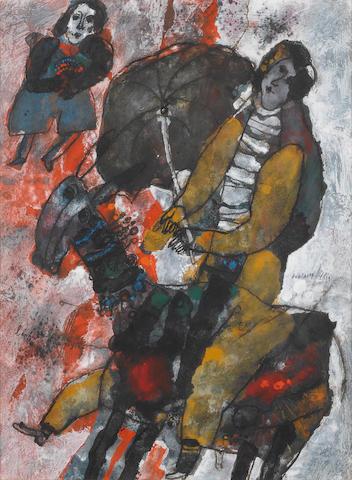 Théo Tobiasse (Isreali/French b.1927) L'enfant et le paysan 25 1/4 x 18 3/3in (64 x 48cm)