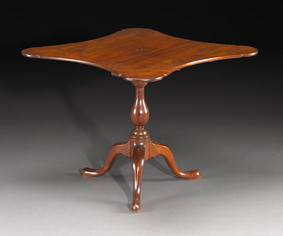 A Chippendale mahogany inlaid tilt top tea table