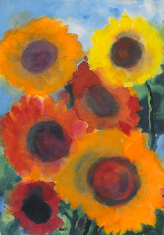 Emil Nolde (German 1867-1956) Red and Gold Sunflowers 18 1/4 x 13in (47 x 33cm)