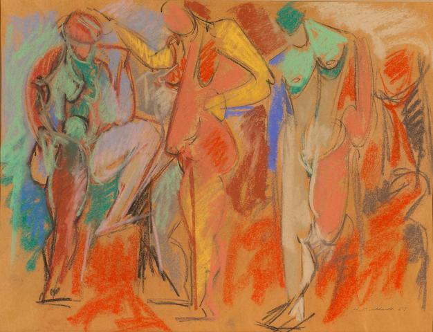 Hans Gustav Burkhardt (Swiss/American 1904-1994) Untitled, 1957 18 1/2 x 24 1/4in (47 x 62cm)
