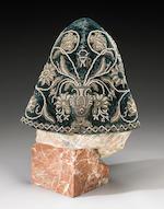 A fine and rare metallic thread and jeweled hood